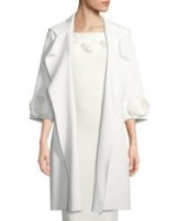 Chiara Boni La Petite Robe Margit Open-Front 3D Rose Topper Coat ~ white floral trimmed coats