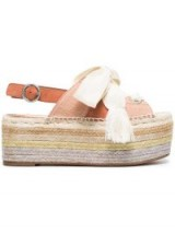 CHLOÉ Suede and canvas Qai flatform sandals / cute summer flatforms