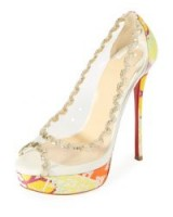 Christian Louboutin Fictoire Transparent Platform Red Sole Pump ~ clear vinyl platforms