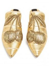 SANAYI 313 Cilegia metallic-gold cherry-embroidered slipper shoes ~ luxe flats