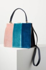 ANTHROPOLOGIE Colourblock Velvet Tote Bag | chic pink and blue top handle bags