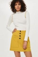 Topshop Contrast Stitch Mini Skirt   mustard-yellow skirts