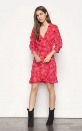 ba&sh CORAZON DRESS ~ pink ruffle trim wrap dresses ~ French fashion designs ~ ba-sh