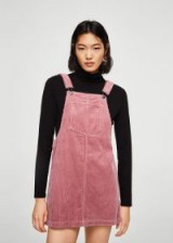 Mango Corduroy pinafore dress in pink