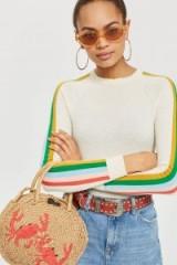 topshop Crab Mini Round Straw Tote Bag