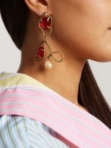 MARNI Red Crystal-embellished and resin drop earrings