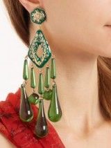 ETRO Green Crystal-embellished teardrop clip-on earrings ~ statement jewellery