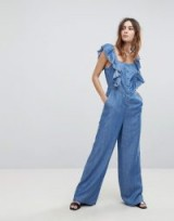 Current Air Denim Jumpsuit with Ruffle Sleeve ~ pretty ruffled spring jumpsuits