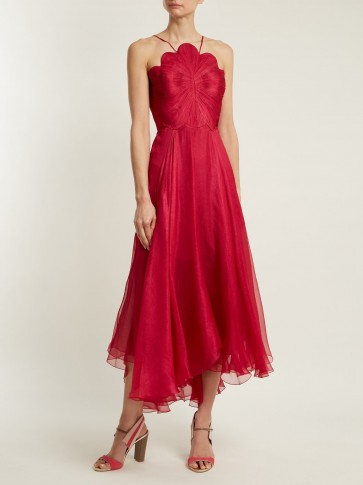 MARIA LUCIA HOHAN Daisy scallop-edged silk-mousseline dress – red halterneck event dresses