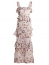 BROCK COLLECTION Darwin floral-print cotton-voile dress – lilac ruffle-tiered dresses