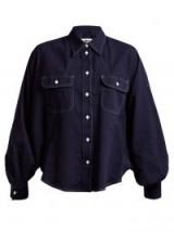 MM6 MAISON MARGIELA Dolman-sleeved cotton-denim shirt ~ indigo blouson sleeve shirts