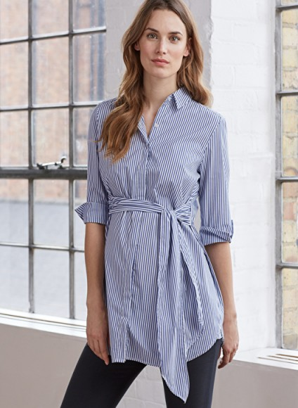 ISABELLA OLIVER DORA MATERNITY SHIRT – blue and white striped front tie shirts – pregnancy fashion