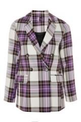 TOPSHOP Double Breasted Tartan Jacket / purple plaid jackets