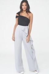 LAVISH ALICE Draped Wide Leg Satin Trousers – pastel lilac pants