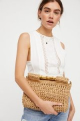 FREE PEOPLE Dreamland Straw Clutch. NATURAL TONE BAGS