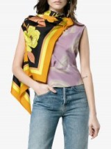 Dries Van Noten Coletti Floral Silk Draped Scarf Top – lilac tops