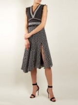 ALTUZARRA Eiffel V-neck broderie-anglaise dress ~ front split tassel trim dresses