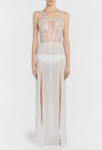 LA PERLA ELEMENTS Off-white silk georgette night dress with lurex embroidery – sheer luxe nightdresses – luxury nightwear