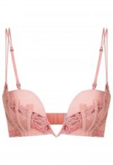 LA PERLA ELEMENTS Powder pink push-up underwired V-bra with lurex embroidery – luxe plunge bras – luxury lingerie