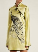 ATTICO Elena peacock-embroidered satin mini dress ~ yellow oriental style dresses