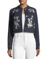 Elie Tahari Meggy Embroidered Denim Jacket ~ cropped jackets