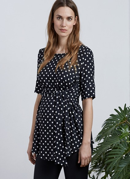 ISABELLA OLIVER ELISHA MATERNITY TIE TOP – black and white polka dot gathered tops – stylish pregnancy clothes