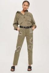 Topshop Embellished Utility Trousers | ripped khaki pants