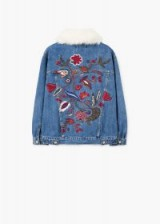 MANGO Embroidered denim jacket BOHO2 | floral-black fur collar jackets