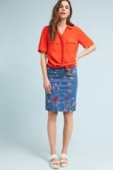Maeve Embroidered Denim Pencil Skirt | blue floral skirts
