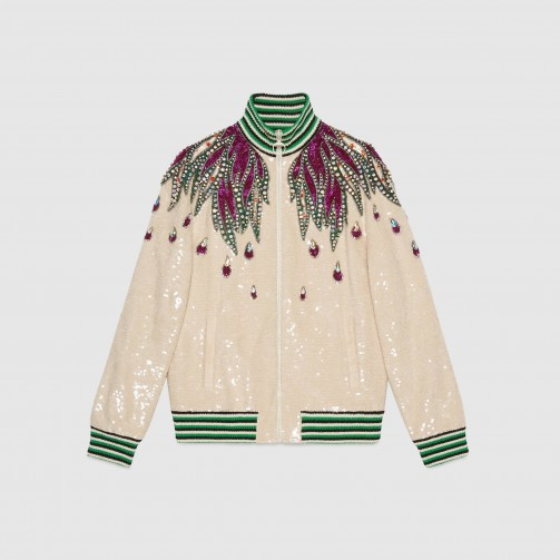 GUCCI Embroidered sequin jacket | luxe bomber jackets