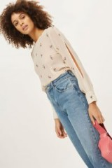 TOPSHOP Embroidered Slash Sleeve Top. NUDE TOPS