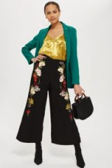 Topshop Embroidered Trousers | floral cropped wide leg pants