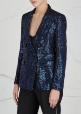 EMPORIO ARMANI Double-breasted blue sequinned blazer ~ sequin evening jackets