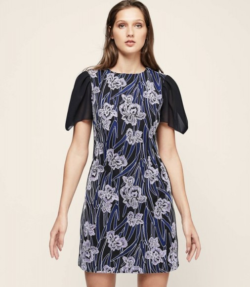 Reiss ESTELLE FLORAL EMBROIDERED DRESS – sheer tulip sleeve dresses