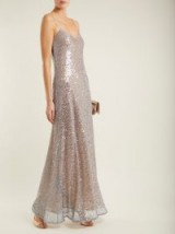 GALVAN Estrella bias-cut sequin-embellished gown ~ metallic-silver strappy gowns