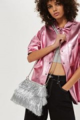 Topshop Fairy Fringed Cross Body Bag | metallic silver fringe crossbody