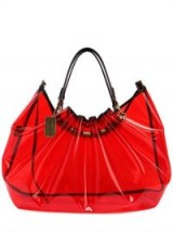 FAITH CONNEXION RED PVC TOTE BAG ~ clear ruched bags