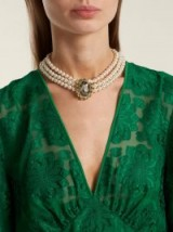 ERDEM Faux-pearl and crystal embellished necklace ~ three strand choker necklaces