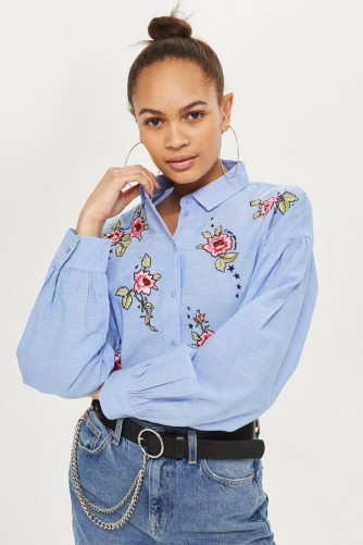 TOPSHOP Floral Embroidered Shirt / blue shirts