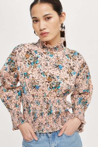 TOPSHOP Floral Print Smock Blouse / gathered vintage style blouses