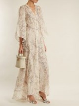 LUISA BECCARIA Scoop-neck floral-embroidered tulle gown ~ chic cream floaty gowns