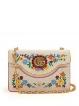 GUCCI Floral-embroidered linen cross-body bag ~ red crystal embellished crossbody bags ~ gold chain shoulder strap
