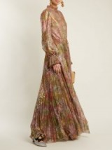LUISA BECCARIA Floral-print pleated tulle gown ~ flowing metallic gowns