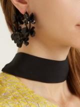 OSCAR DE LA RENTA Flower Garden hoop earrings ~ black statement jewellery