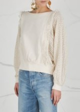 FREE PEOPLE Faff And Fringe cotton sweatshirt in Ivory