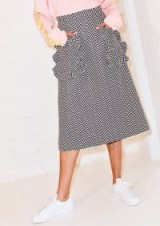 HOUSE OF HOLLAND FRILL POCKET JACQUARD MIDI SKIRT   chevron print A-line skirts