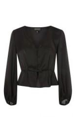 Topshop Frilled Blouse | black peplum hem blouses
