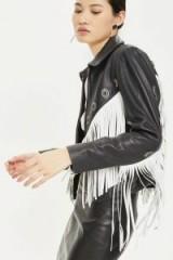 TOPSHOP Fringed Leather Biker Jacket. MONOCHROME FRINGE JACKETS