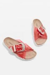 Topshop Pink Frog Buckle Footbed Sandals | large buckled slides
