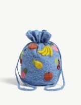 GANNI Edison small beaded bucket bag in Marina | sparkly blue fruit embellished drawstring bags